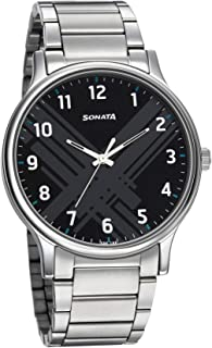 Sonata Smart Plaid Analog Black Dial Men's Watch-77105SM02