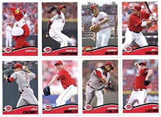 2013 Topps MLB Stickers Cincinnati Reds Team Set (9 Stickers) - Johnny Bench, Brandon Phillips, Arolois Chapman, Joey Votto, Zack Cozart, Hoomer Bailey, Johnny Cueto, Mat Latos, and Gapper the Cincinnati Reds Team Mascot