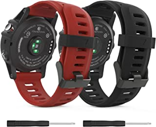 MoKo Band Compatible with Garmin Fenix 3/Fenix 5X, Soft Silicone Replacement [2 Pack] Watch Band for Garmin Fenix 3/Fenix 3 HR/Fenix 5X/5X Plus/D2 Delta PX/Descent Mk1 Smart Watch - Black & Dark Red