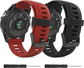 Garmin Fenix 3/Fenix 5X Watch band, MoKo Soft Silicone Replacement [2 PACK] Watch Band for Garmin Fenix 3/Fenix 3 HR/Fenix 5X/5X Plus/Fenix 6X/6X Pro/D2 Delta PX/Descent Mk1 Smart Watch,Black&Dark Red