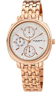Akribos XXIV Multifunction Elegant Women's Watch - Faux Pearls on Bezel with 3 Subdials, Month Date, Week Date and 24 Hr Functions Complication On Stainless Steel Bracelet - AK1114