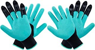 MOFIR Garden Genie Gloves 2 Pack with 4 ABS Claws | Breathable, Waterproof Nitrile & Thorn Resistant Working Gloves for Women & Men | for Digging, Planting, Composting, Outdoor Work & More