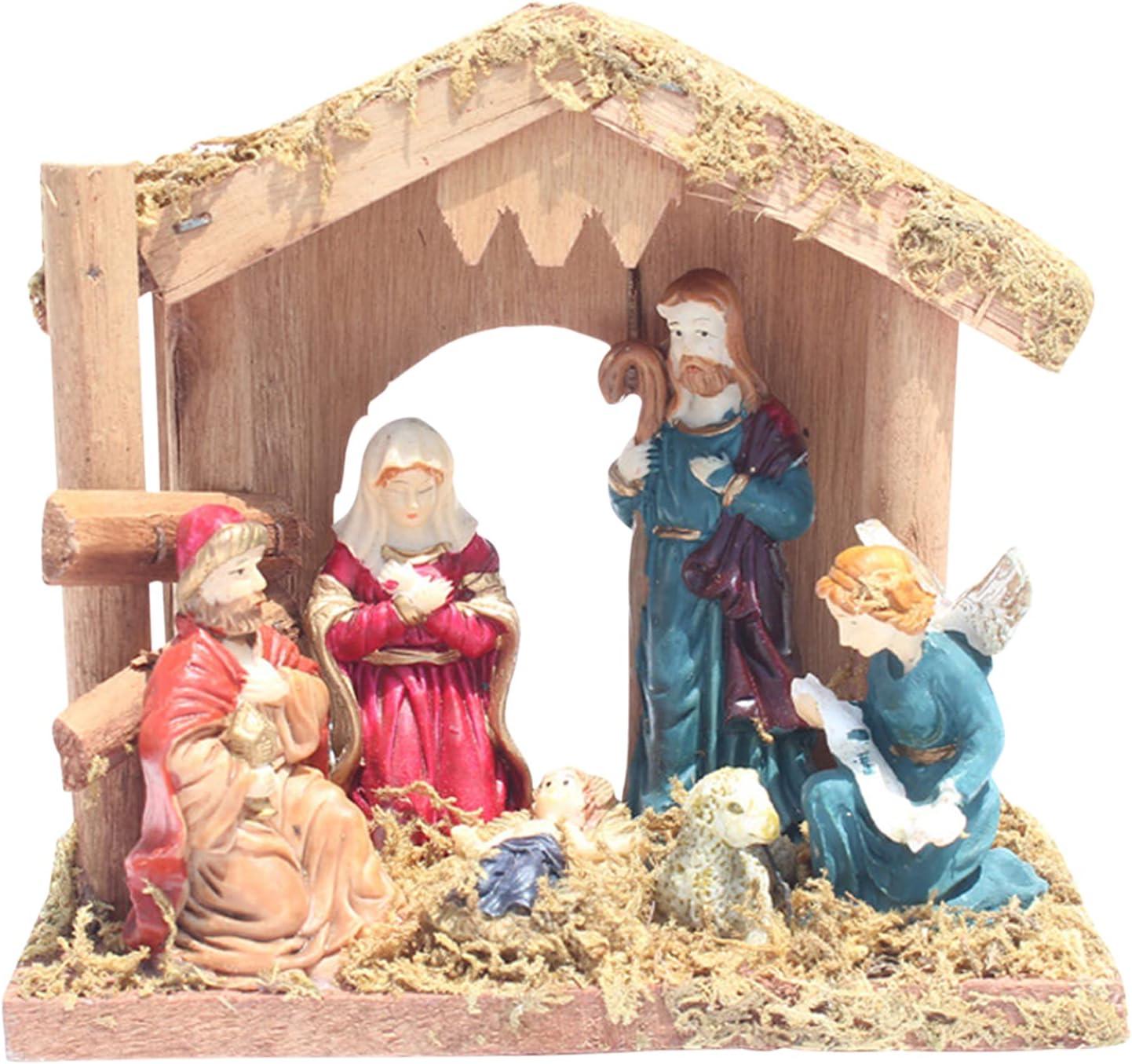 HAOXIU Belén de madera, Belén de Navidad, escena decorativa de resina, escena de belén