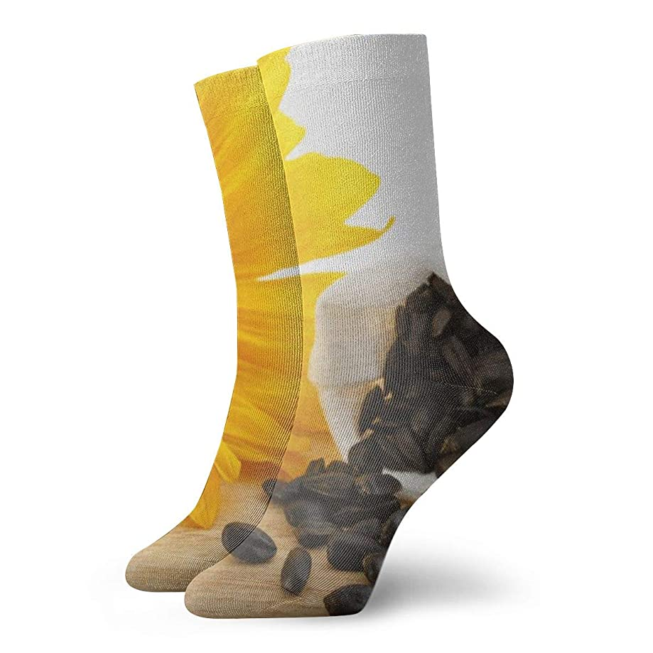 WEEDKEYCAT Sunflower and Seeds On Desk Adult Short Socks Cotton Gym Socks for Mens Womens Yoga Hiking Cycling Running Soccer Sports