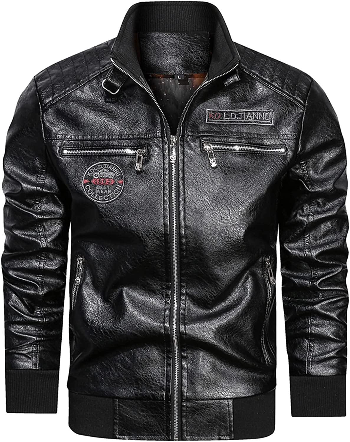 Men Casual Vintage Slim Zip Faux Leather Jacket Sleeve Stan Long Super beauty product NEW before selling restock quality top