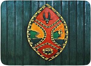Doormats Bath Rugs Outdoor/Indoor Door Mat Warrior African War Shield Wooden Carved from Africa Zulu Chief Culture Bathroo...