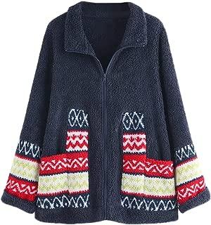 FEDULK Womens Fleece Coat Winter Warm Plush Fluzzy Turn-Down Collar Zipper Outwear Jacket M-4XL