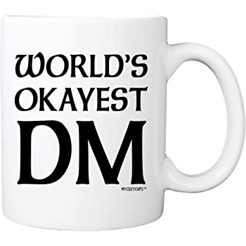Dungeon Master Mug - World's Okayest DM Coffee Mug - D20 Dice Roleplaying Nerdy 11oz Cup for Men, Women, Best Friend - Tabletop RTS RPG Mug