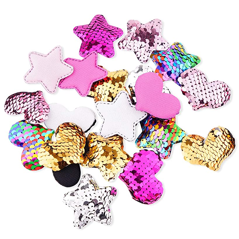 20Pcs Heart Star Sequins Patch, Mermaid Flip Up Sew on Applique Reversible Sequin Patches for Jackets, Jeans, T-Shirt, Clothes, Hat, Bag