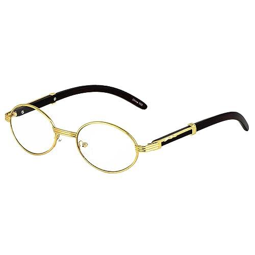 3dc4b2e0059 Elite WOOD Art Clear Lens Eyeglasses Unisex Vintage Fashion Oval Frame  Glasses