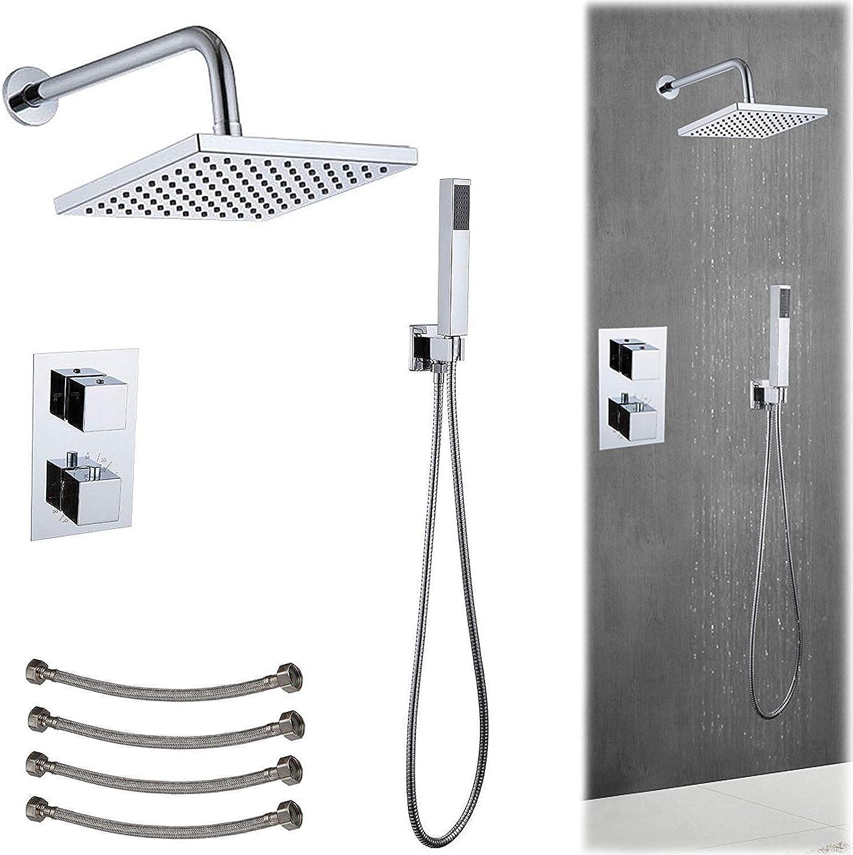 GJR-HS Quadratischer Kopf Grünckter Thermostatmischer-Badeduschsatz Luxuxchrom groer Kopf-Handapparat-Regenduschen 2-Wege-Ventil-Duschsatz
