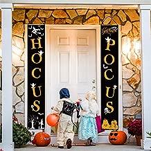 Whaline Hocus Pocus Halloween Banner Indoor/Outdoor Decorative Hanging Sign for Home Office Front Door Porch Welcome Halloween Decorations
