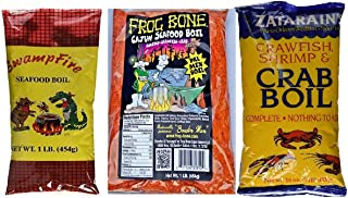 Louisiana Crawfish, Shrimp and Crab Seafood Boil Sampler Bundle - 1 each of Frog Bone, Swamp Fire and Zatarain's Complete Boil (1 Pound each)