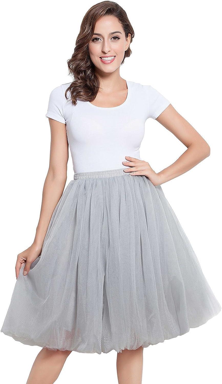 Belle House Women's A Line Short Knee Length Tutu Tulle Prom Party Elastic Skirt