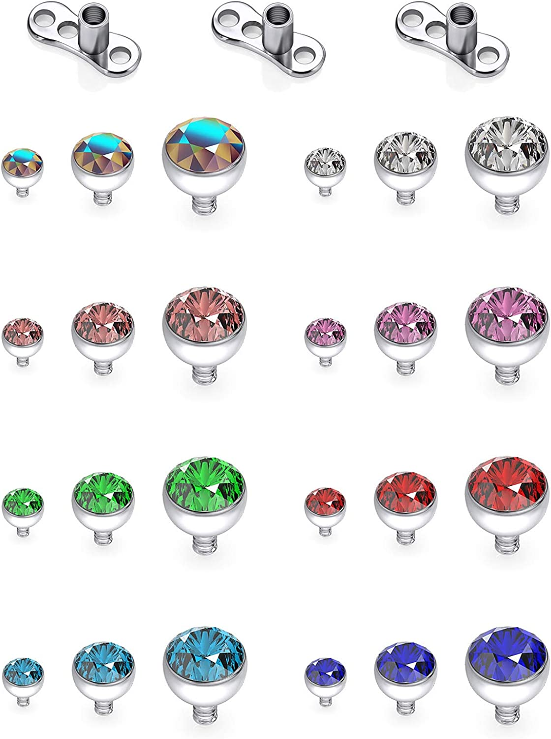 Outstanding SCERRING 14g Clear OFFicial CZ Dermal Anchor and Tops Titanium Base Micro