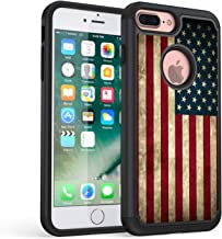 iPhone 7 Plus Case,iPhone 8 Plus Case,Rossy Retro Vintage Old USA American Flag Design Shock-Absorption Hybrid Dual Layer Armor Defender Protective Case Cover for Apple iPhone 7 Plus/iPhone 8 Plus