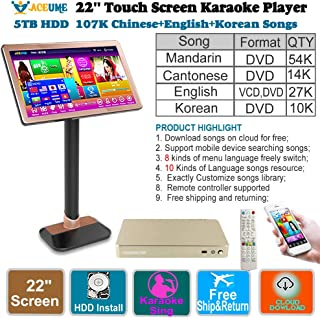 5TB HDD 107K Chinese+English+Korean Songs 22'' Touch Screen Karaoke Player/Jukebox,Multi-Language Menu and Fast Search,Select Songs Via Moinitor and Mobile Device,Remote Controller,TSR95