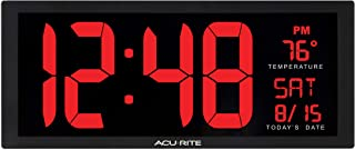 AcuRite 75127M 14.5 Inch Large Red Oversized LED Clock with Indoor Temperature, Date and Kickstand (75172MDI), 14.5-Inch, Black