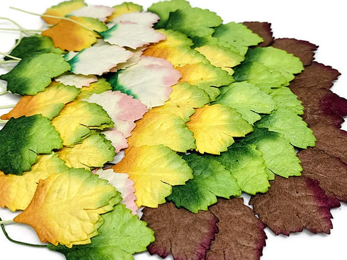 50 PC Anthurium Mini Rose Leaf Mulberry Paper Mixed Color Natural Skeleton Rubber Tiny Leaves 10 mm Supplies Card Scrapbooking Artificial Embellishment Wedding Doll House DIY F027