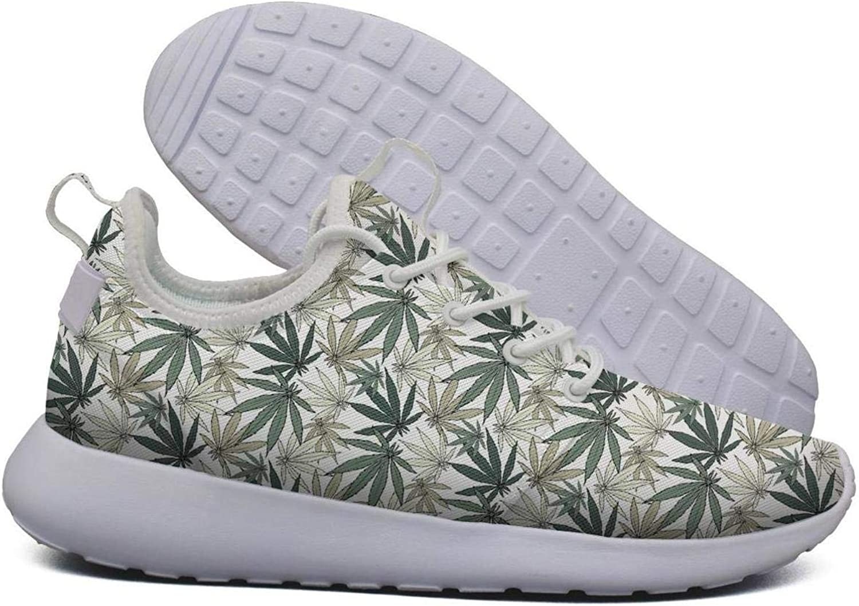 Hoohle Sports Womens Grey Cannabis Leaf Flex Mesh Roshe 2 Lightweight Soft Running Sneakers shoes