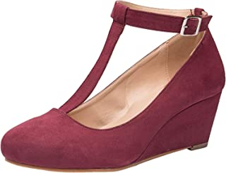 Luoika Women's Wide Width Wedge Shoes - Mary Jane Heel Pump with T-Strap.