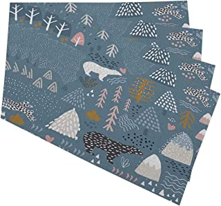 Mugod Scandinavian Placemats Bunny Polar Bear Forest Elements and Hand Drawn Shapes Seamless Pattern Decorative Heat Resistant Non-Slip Washable Place Mats for Kitchen Table Mats Set of 4 12