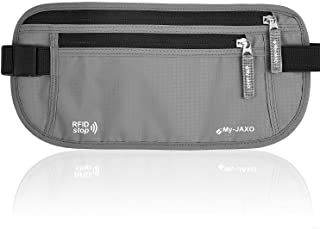 My-Jaxo Premium Family Waterproof RFID Slim Fanny Pack - Money Belts for Travel Women and Men - Waist Bag Pouch - Travel belt for Money and Passport Black or Grey