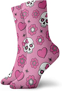 Vector Seamless Flowers Skulls Men's Cushion Crew Socks Athletic Running Socks Men Cotton