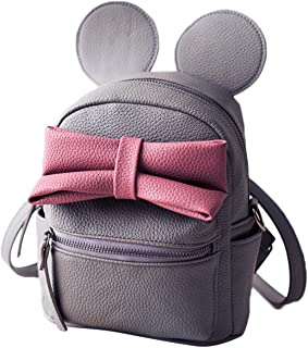 Cute Mini Backpack Lightweight PU Leather Bowknot Cartoon Mouse Ear Small Backpack Travel Daypacks for Women/Girls, Grey