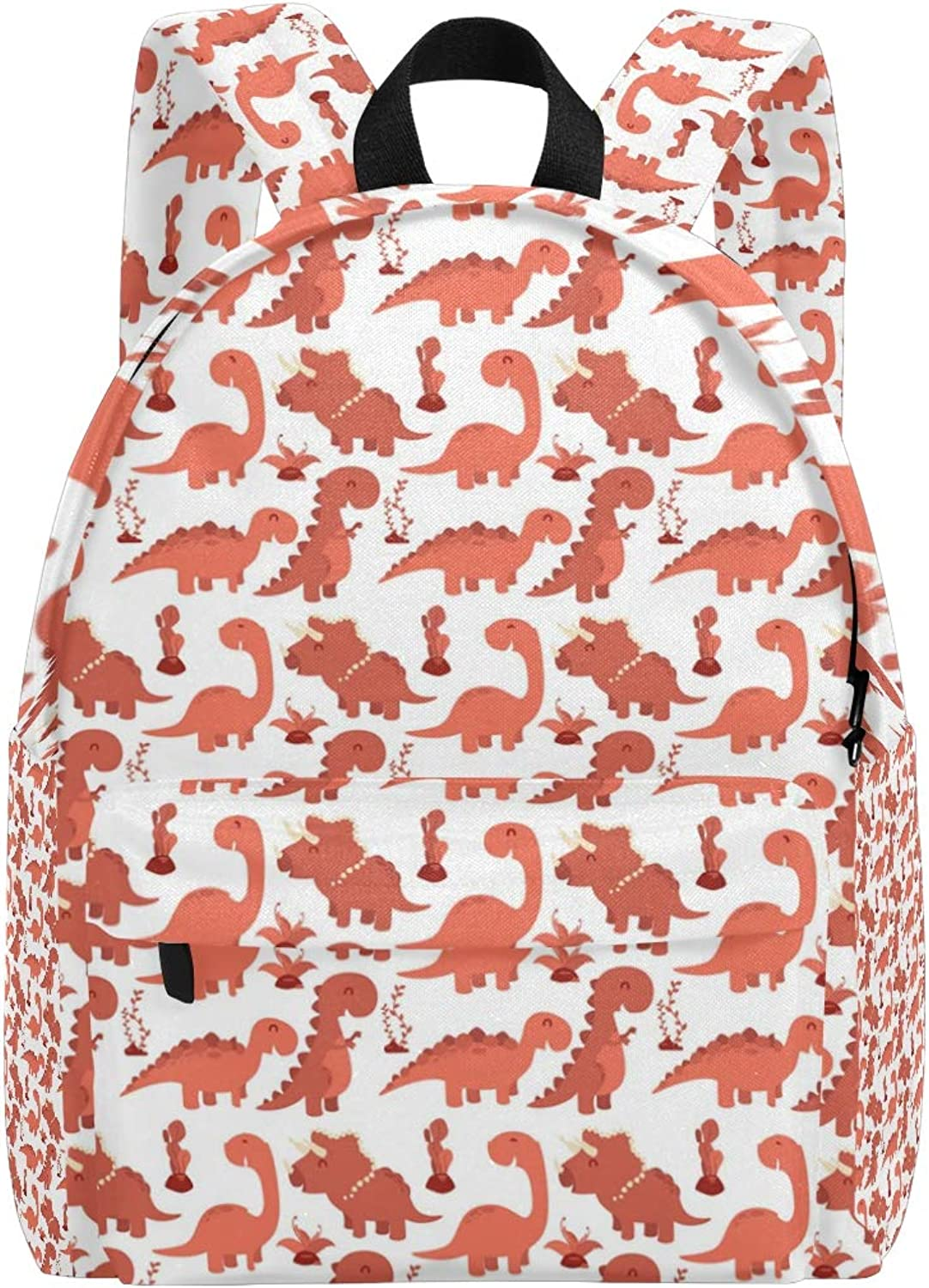 College Bookbag Red Dinosaurs and Cactu Print Schoolbag Unisex Backpack Hiking Daypacks Travel Sports Bags