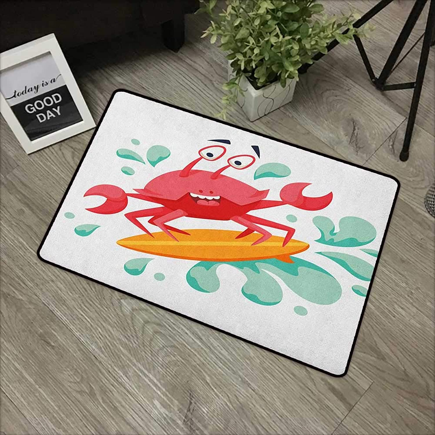 Living room door mat W35 x L59 INCH Ride The Wave,Caricature Crab Surfing in the Sea Sports Adventure Illustration, Dark Coral Mint orange Easy to clean, no deformation, no fading Non-slip Door Mat Ca