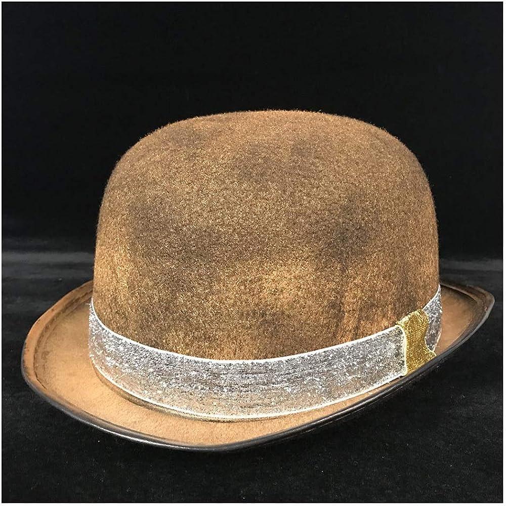 Hxgang Retro Lolita Women Men Steampunk Bowler Hat Glasses Topper Top Hats Fedora Billycock Groom Hat