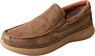 Twisted X Men's EVA12R D Toe Embroidered Leather Western Slip-On Shoes - Bomber