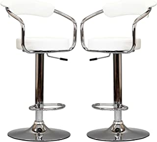 Modway Diner Vintage Modern Faux Leather Upholstered Two Adjustable Swivel Bar Stools in White