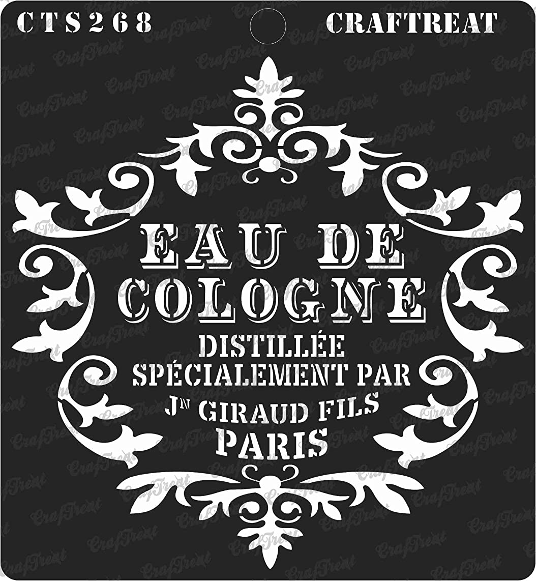 CrafTreat Stencil - Eau De Cologne | Reusable Painting Template for Journal, Notebook, Home Decor, Crafting, DIY Albums, Scrapbook and Printing on Paper, Floor, Wall, Tile, Fabric, Wood 6