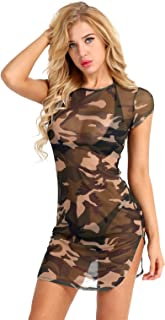 iiniim Womens Lingerie Camouflage Side Slit Sheer Mesh See Through Chemise Mini Dress