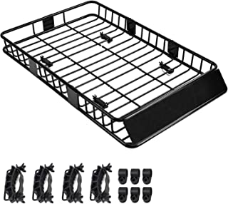 SUNCOO Roof Rack Cargo Basket Extension 64x39x6 in with 250 lbs Capacity Car Top Luggage Holder Wind Fairing Cargo Carrier