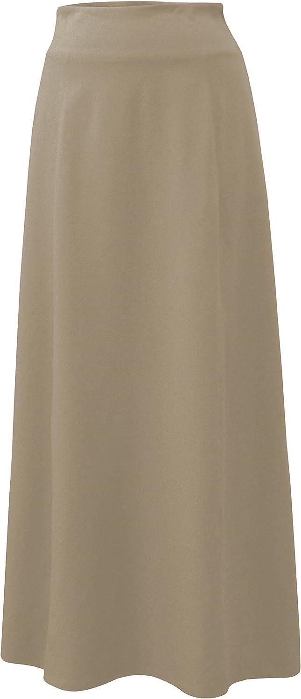 Baby'O Women's Basic Stretch Cotton Knit Panel Maxi ALine Skirt