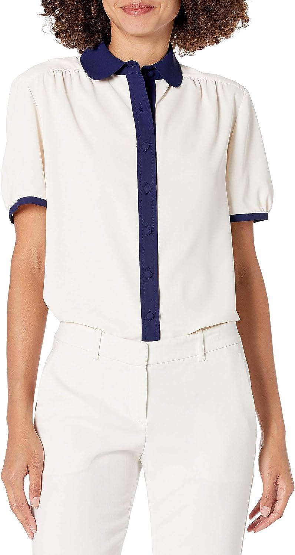 Anne Klein Women's Short Sleeve Peterpan Collar Button Down Blouse