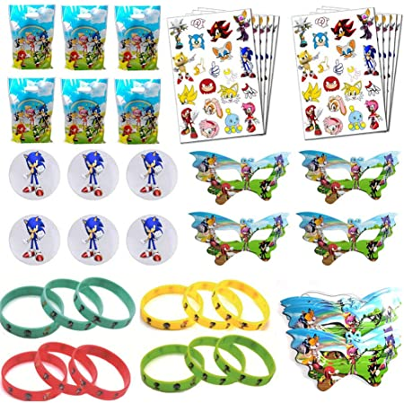 Sonic Theme Birthday Party Favor For Kids- Sonic Wristbands Sonic Masks for Classroom Rewards Carnival Prizes Set Gifts for Kids Boys Girls Tattoos,Goodie Gift Bags Badges Serve 10 Guests