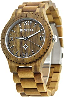 Men's Wooden Watch Made of Real Natural Wood,Retro Style Lightweight Eco-Friendly Handmade Ebony Wood Wrist Watches Fit for Gift (Green Sandalwood)