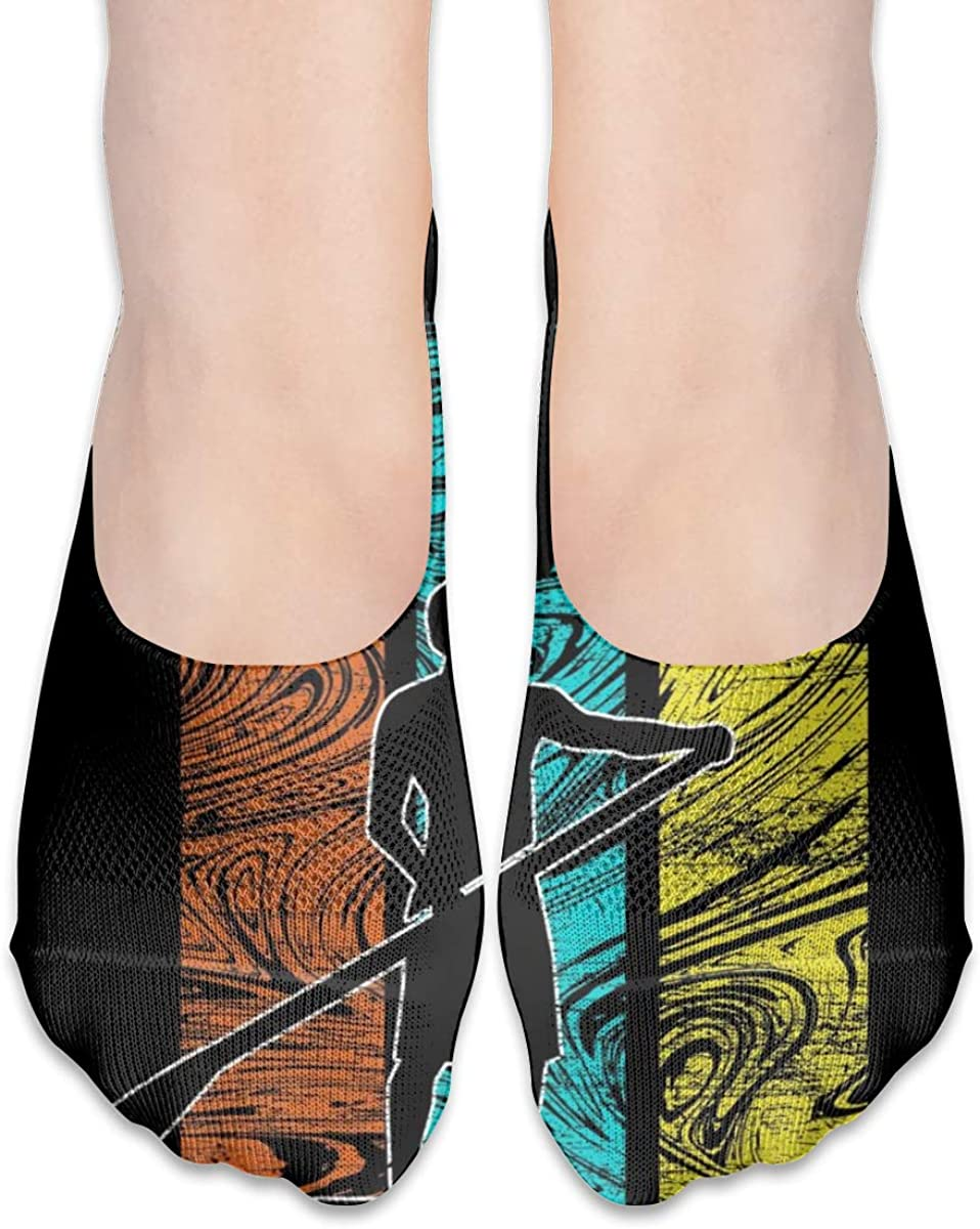 Personalized No Show Socks With Funny Stand Up Paddling Vintage Print For Women Men