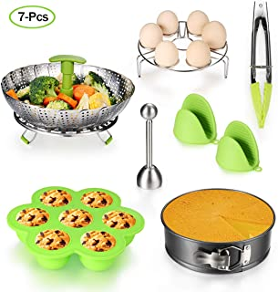 7PCS Accessories for Instant Pot Set - 5,6,8 Qt Pressure Cooker Accessories Set with Steamer Basket,Eggshell Cutter,Egg Rack,Egg Bites Mold,Non-Stick Springform Pan,Tong,Silicone Mini Mitts
