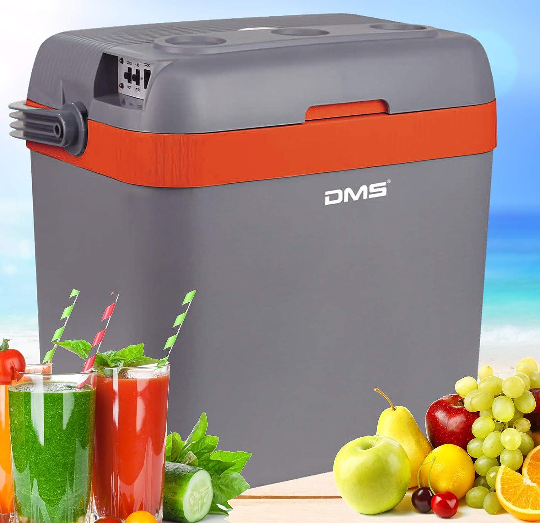 DMS Kühlbox Kühltasche Gefriertasche 33L Getrnkebox Wrmebox 12-24V LKW und PKW Zum Kühlen und Warmhalten Geeignet (Grau-Orange)
