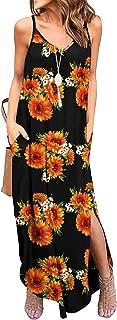 Newchoice Womens Spaghetti Strap Maxi Dresses Pockets Casual Loose Cami Long Summer Dress