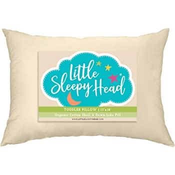 Little Sleepy Head Toddler Pillow, Organic Cotton, Down-Like Fill, Ivory 13 X 18