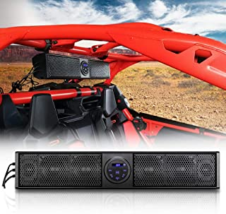 UTV RZR Sound Bar Audio System, KEMIMOTO X3 Wireless Control Universal Water Resistant Sound Bar with Tweeter and Subwoofer Compatible with UTV, SideXSide, 1.75-2.25 Roll Bar