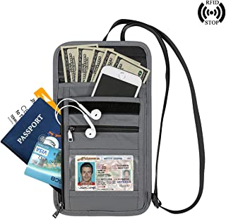 CozyCabin RFID Blocking Neck Wallet Passport Holder Travel Pouch Security Necklace Purse Anti-Theft Neck Bag for Women & Men, Grey