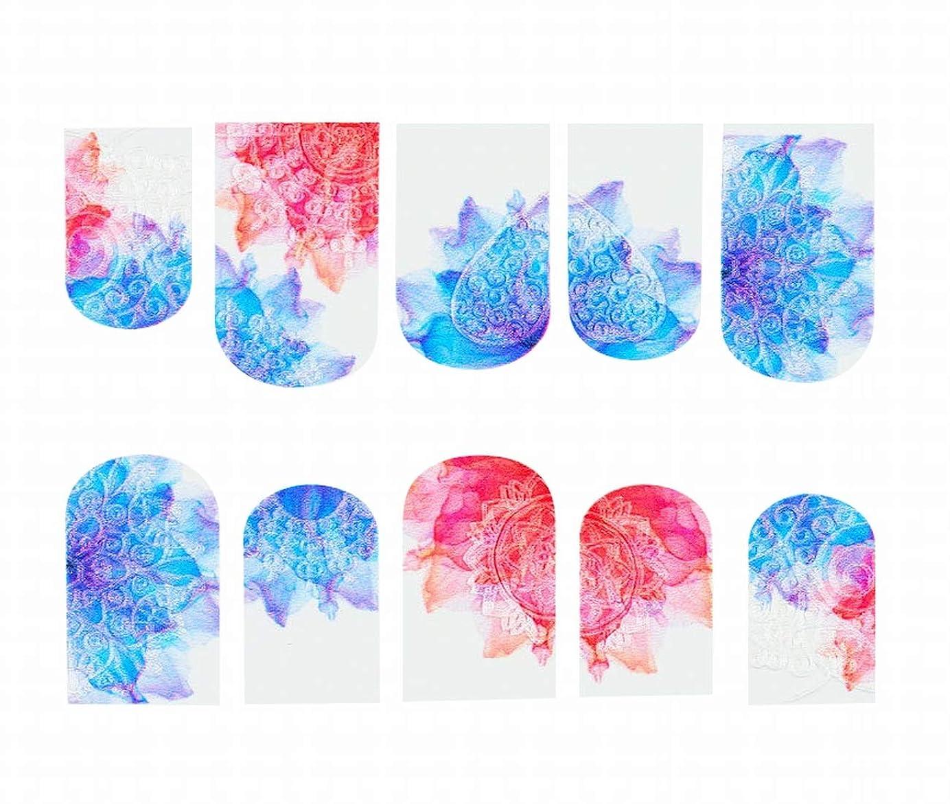 なぞらえるドキドキネクタイCUBCBIIS 5Dエンボス透かしネイルステッカーフラワーマニキュアデコレーションネイルデカールステッカー (Color : Blue pink)