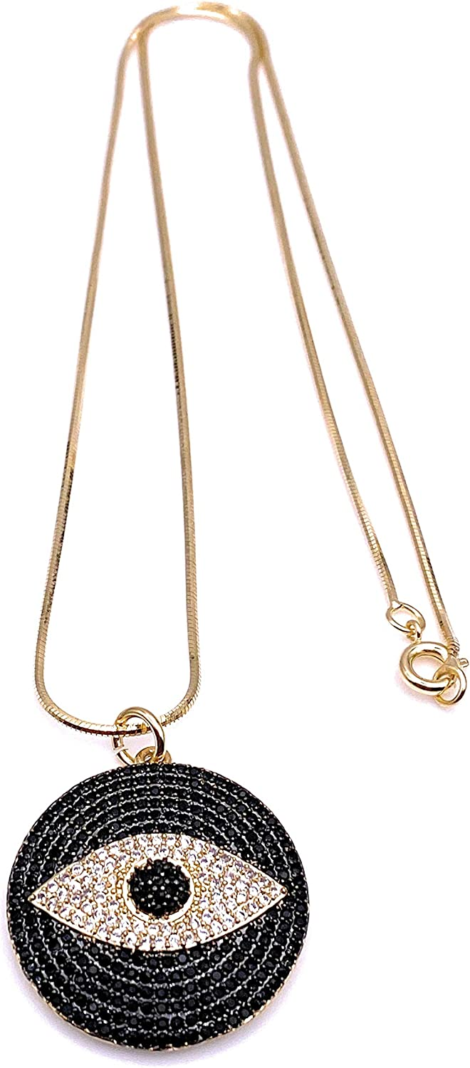 Gold Evil Eye Jewelry Necklace for Women 18K Gold Plated Chain